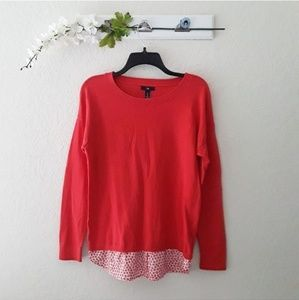 Gap sz:L Red Floral Trim Sweater Blouse Top